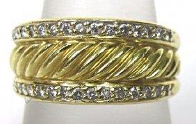 18K Yellow Gold Diamond Dome Ring