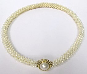14K Yellow Gold Double Twisted Seed Pearl Necklace
