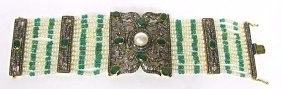 Sterling Silver Emerald, Diamond and Pearl Bracelet