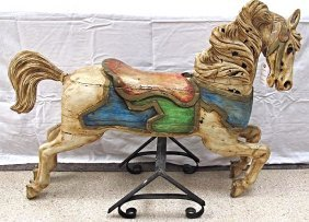 Rare Early C.W. Parker Carousel Horse from Levanworth,
