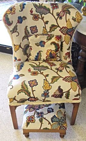 Upholstered Chair with Matching Foot Stool