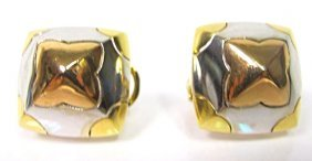 18K Yellow Gold, White Gold and Rose Gold Earrings,