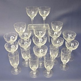 Collection of Etched Crystal Stemware, Twenty One (21)