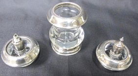 Sterling Silver & Crystal Match Holder & 2 Candles