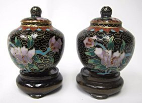 Pair of Miniature Cloisonne Black Ginger Jars with Lids