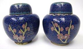 Pair of Miniature Cloisonne Blue Jars with Lids