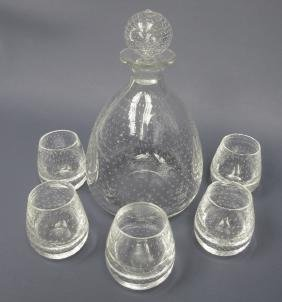 Pairpoint Decanter with Five (5) Cordials, Controlled