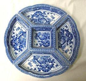 5 Piece Blue & White Porcelain Japanese Condiment Set