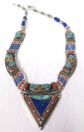 Tibetan Silver, Lapis, Coral and Turquoise Necklace