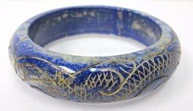 Carved Lapis Bangle Bracelet