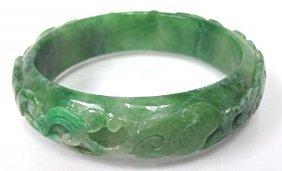 Carved Green Jade Bangle Bracelet