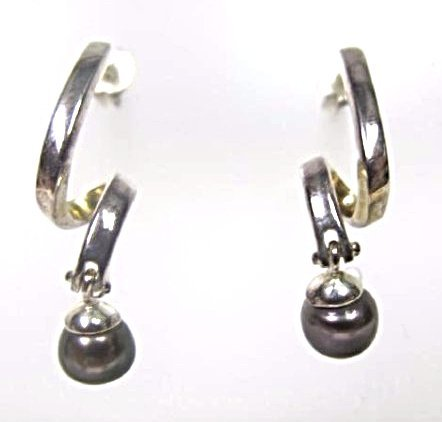 Sterling Silver Black Pearl Drop Earrings