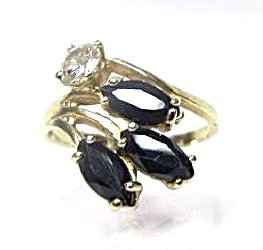 14K Yellow Gold Sapphire and Diamond Ring, Size 5