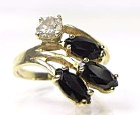 14K Yellow Gold Sapphire and Diamond Ring, Size 5 - 2
