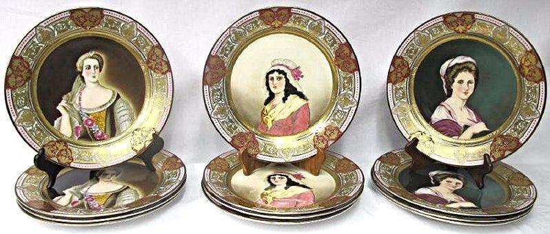"Twelve (12) Royal Vienna Portrait Plates 12"" diameter"