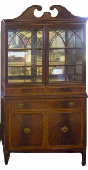 Antique Inlaid Bookcase Cabinet