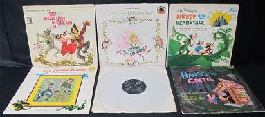 A Collection of Six (6) Children's Disney Vinyl Records