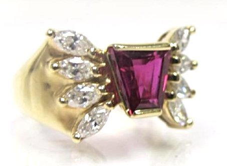 14K Yellow Gold Ruby and Diamond Ring - 2