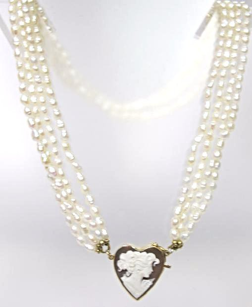 14K Yellow Gold Cameo & Four (4) Strand Freshwater - 2