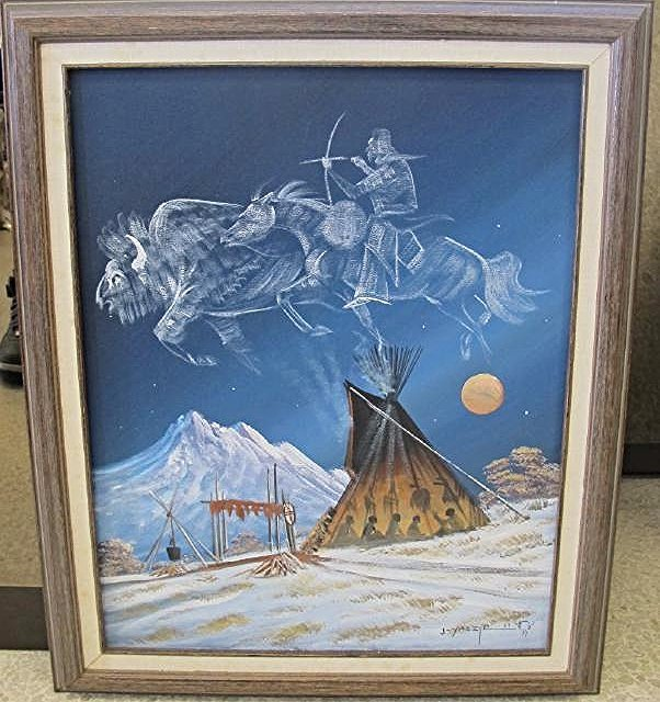 "Telling of Buffalo Run by Johnny Yazzie, 16""x20"","