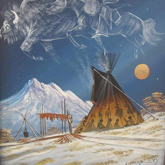 "Telling of Buffalo Run by Johnny Yazzie, 16""x20"", - 2"
