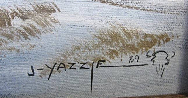 "Telling of Buffalo Run by Johnny Yazzie, 16""x20"", - 3"