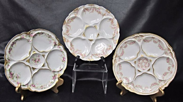 Three (3) Theodore Haviland Limoges Oyster Plates