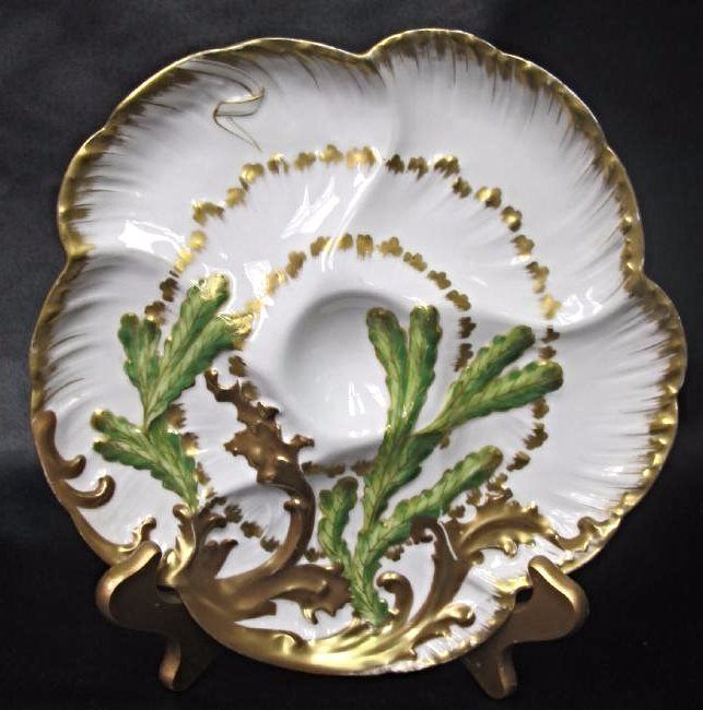 "Rare Haviland Limoges Color ""Wave"" Seaweed Oyster"