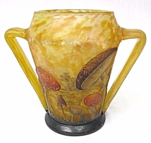 Rare Daum Nancy Enameled Cameo Glass Two Mushroom Vase