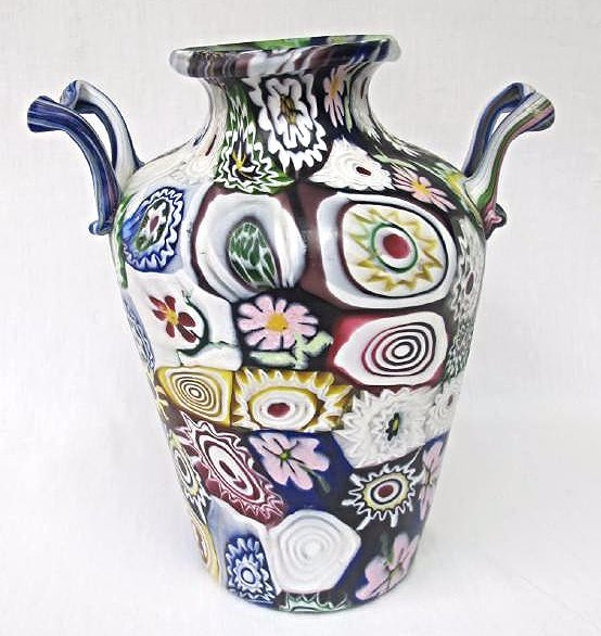 "Italian Millefiori Double Handled Glass Vase, 11"" tall"