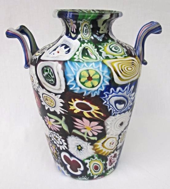"Italian Millefiori Double Handled Glass Vase, 11"" tall - 2"