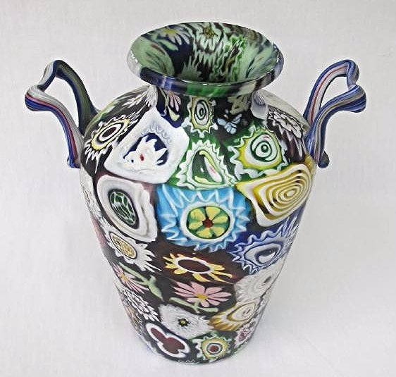 "Italian Millefiori Double Handled Glass Vase, 11"" tall - 3"