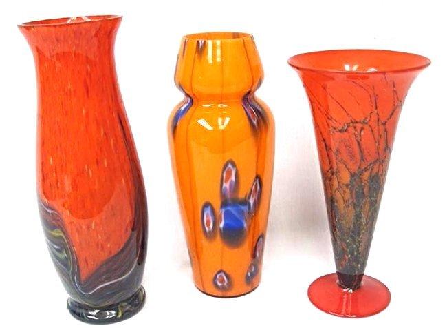 Three (3) Murano Style Art Glass Vases