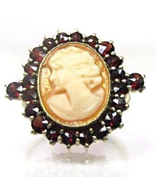 14K Yellow Gold Garnet Cameo Ring, Size 5 1/4 - 2