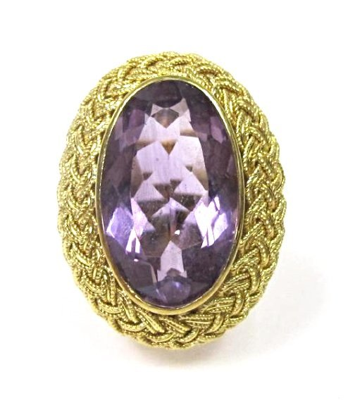 Vintage 18K Yellow Gold Amethyst Ring, Size 7,