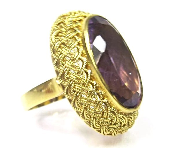 Vintage 18K Yellow Gold Amethyst Ring, Size 7, - 2