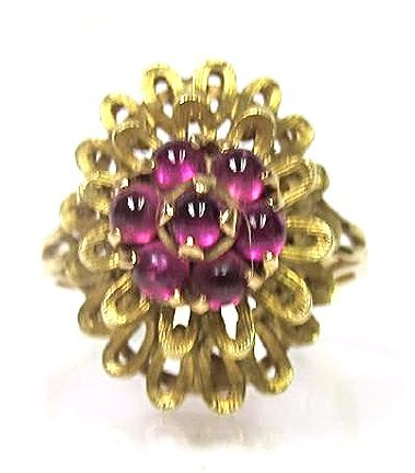 Vintage 18K Yellow Gold Ruby Ring, Size 8 1/2, 4.38dwt.
