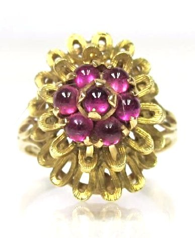 Vintage 18K Yellow Gold Ruby Ring, Size 8 1/2, 4.38dwt. - 2