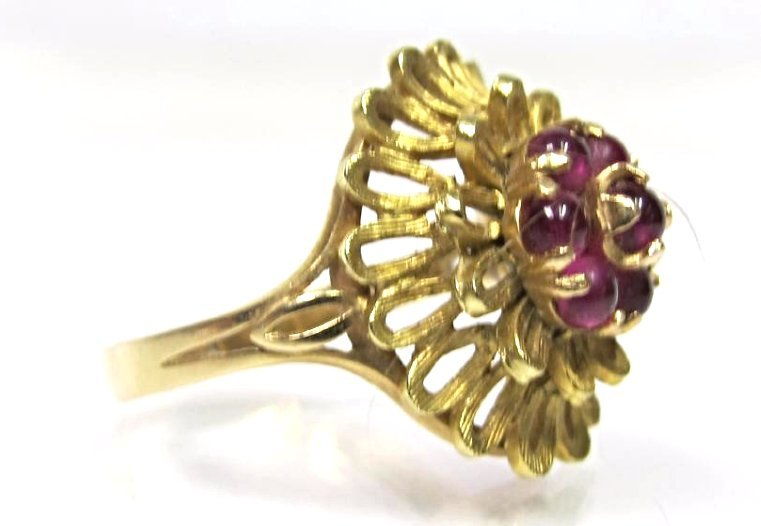 Vintage 18K Yellow Gold Ruby Ring, Size 8 1/2, 4.38dwt. - 3