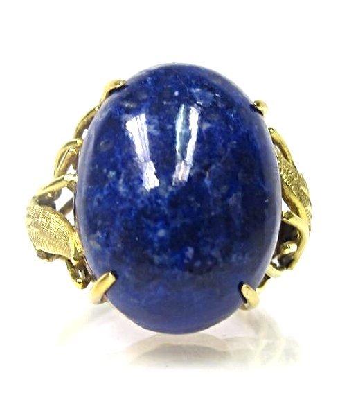 14K Yellow Gold Lapis Ring, Size 5