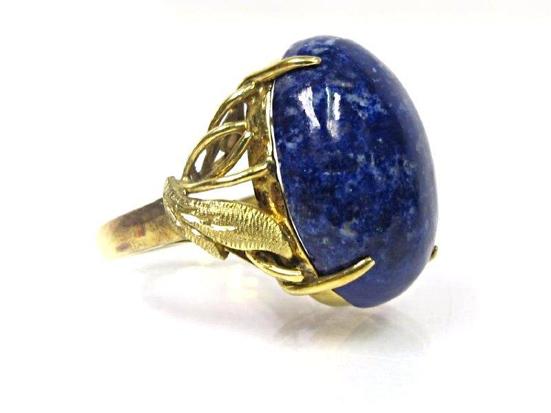 14K Yellow Gold Lapis Ring, Size 5 - 2