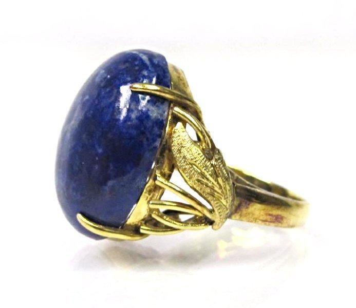 14K Yellow Gold Lapis Ring, Size 5 - 3