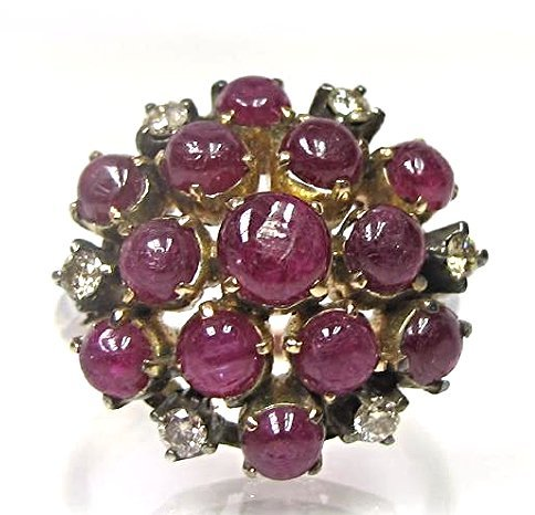 14K Rose Gold Cabachon Cut Ruby and Diamond Ring,