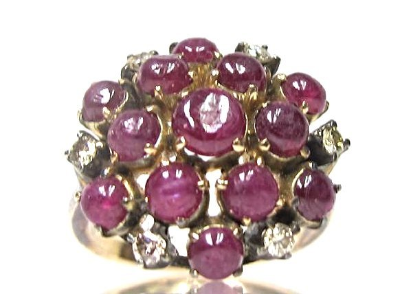 14K Rose Gold Cabachon Cut Ruby and Diamond Ring, - 2