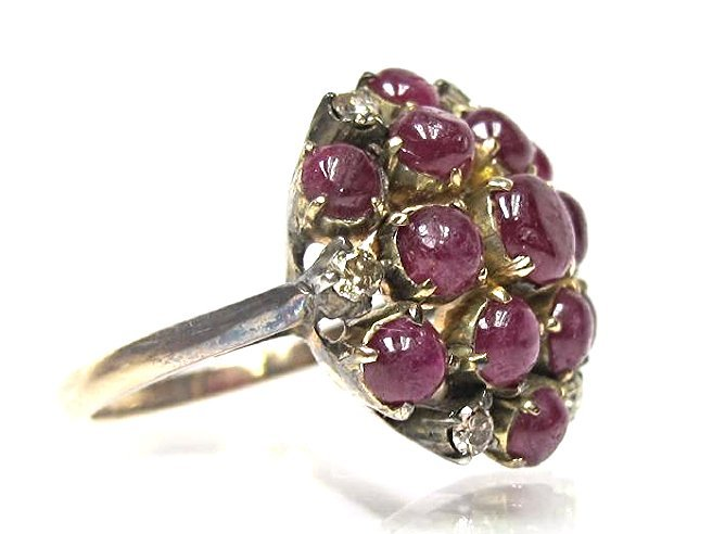 14K Rose Gold Cabachon Cut Ruby and Diamond Ring, - 3