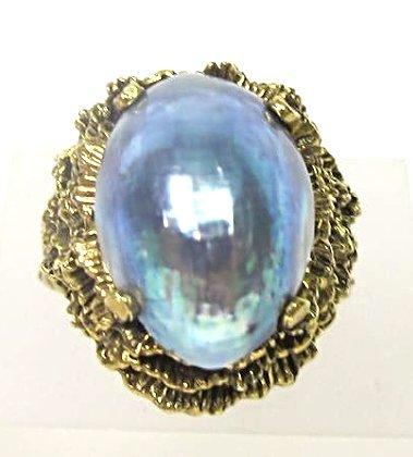 14K Yellow Gold Abalone Ring, Size 7