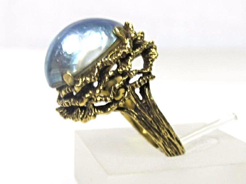 14K Yellow Gold Abalone Ring, Size 7 - 3