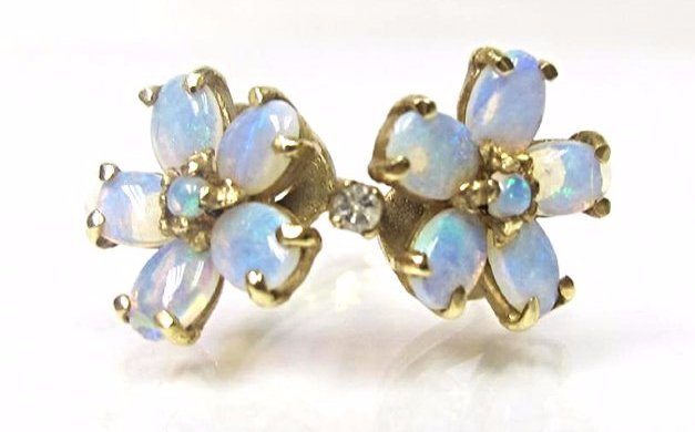 14K Yellow Gold Opal and Diamond Flower Ring, Size 6