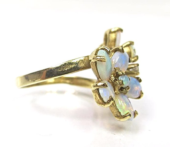 14K Yellow Gold Opal and Diamond Flower Ring, Size 6 - 2