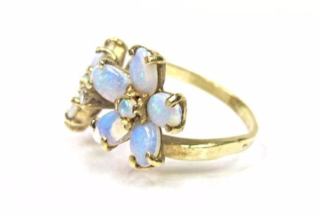 14K Yellow Gold Opal and Diamond Flower Ring, Size 6 - 3